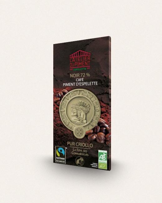 Atelier du piment, Chocolat Noir 72% Café et Piment d'Espelette