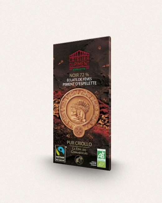 Atelier du piment, Chocolat Noir 72% Eclats de fève de cacao et Piment d'Espelette