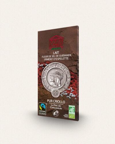 Atelier du piment, Chocolat Lait Fleur de sel de Guérande et Piment d'Espelette