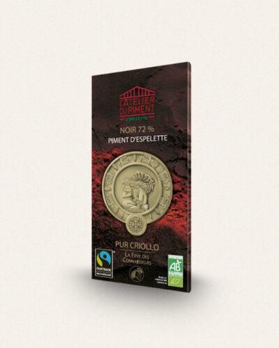 Atelier du piment, Chocolat Noir 72% Piment d'Espelette